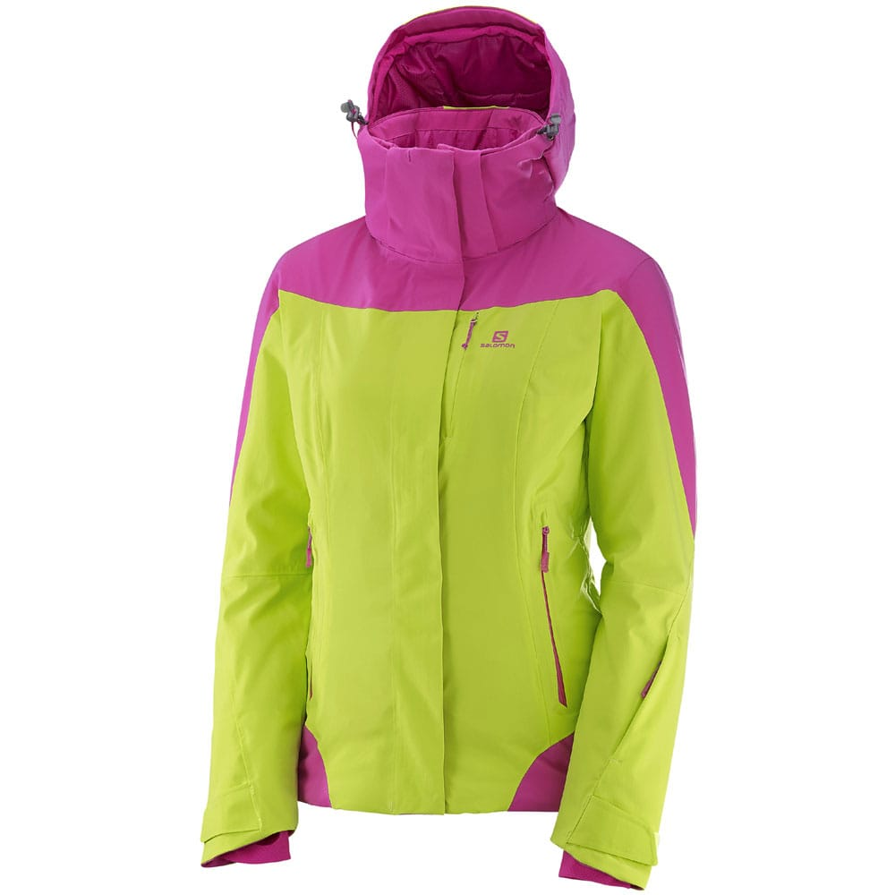 Salomon Icerocket Jacket Damen-Winterjacke - Acid Lime/Rose Violet