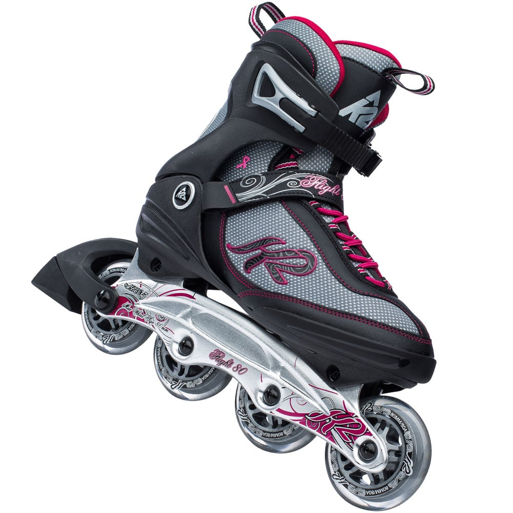 k2 flight 80 w inline skates 30a0732 black grey pink. Black Bedroom Furniture Sets. Home Design Ideas