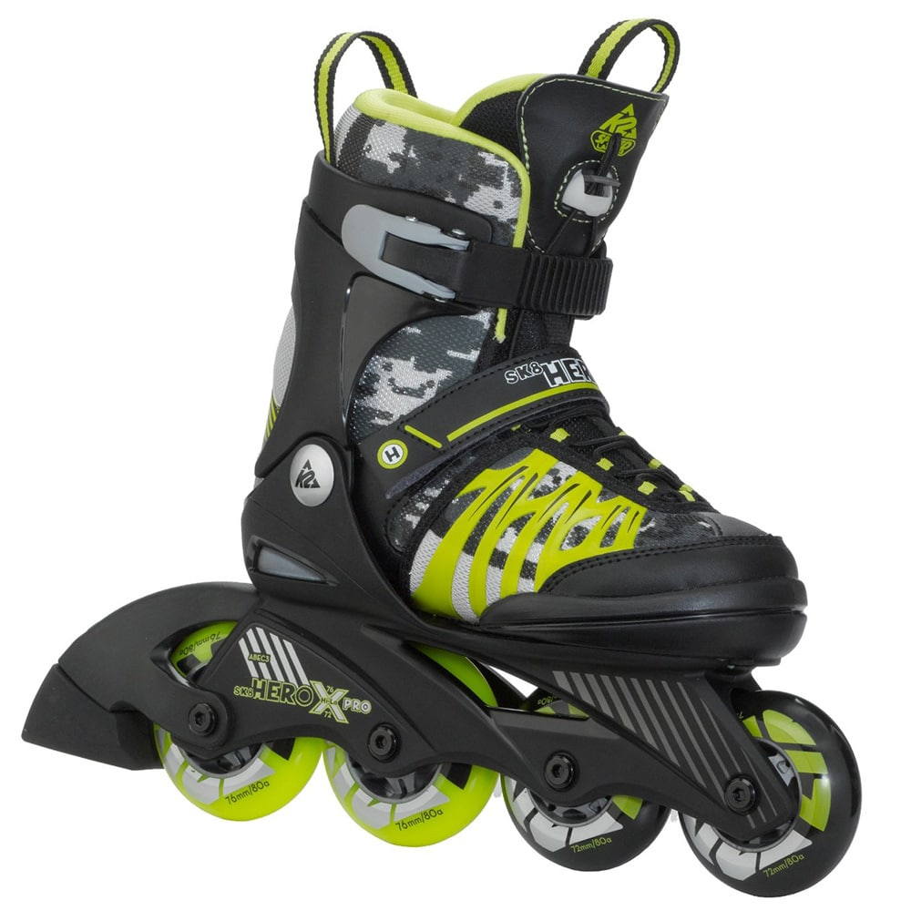 k2 sk8 hero x pro jr kinder inline skates black green. Black Bedroom Furniture Sets. Home Design Ideas