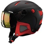 Alpina Attelas Visor QVM Mirror Skihelm mit Visier Black-Red Matt