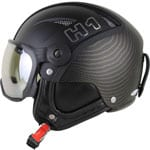 HMR H1 Leather Skihelm mit Visier Gold Racer
