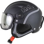 HMR H1 Leather Skihelm mit Visier Strongest Black