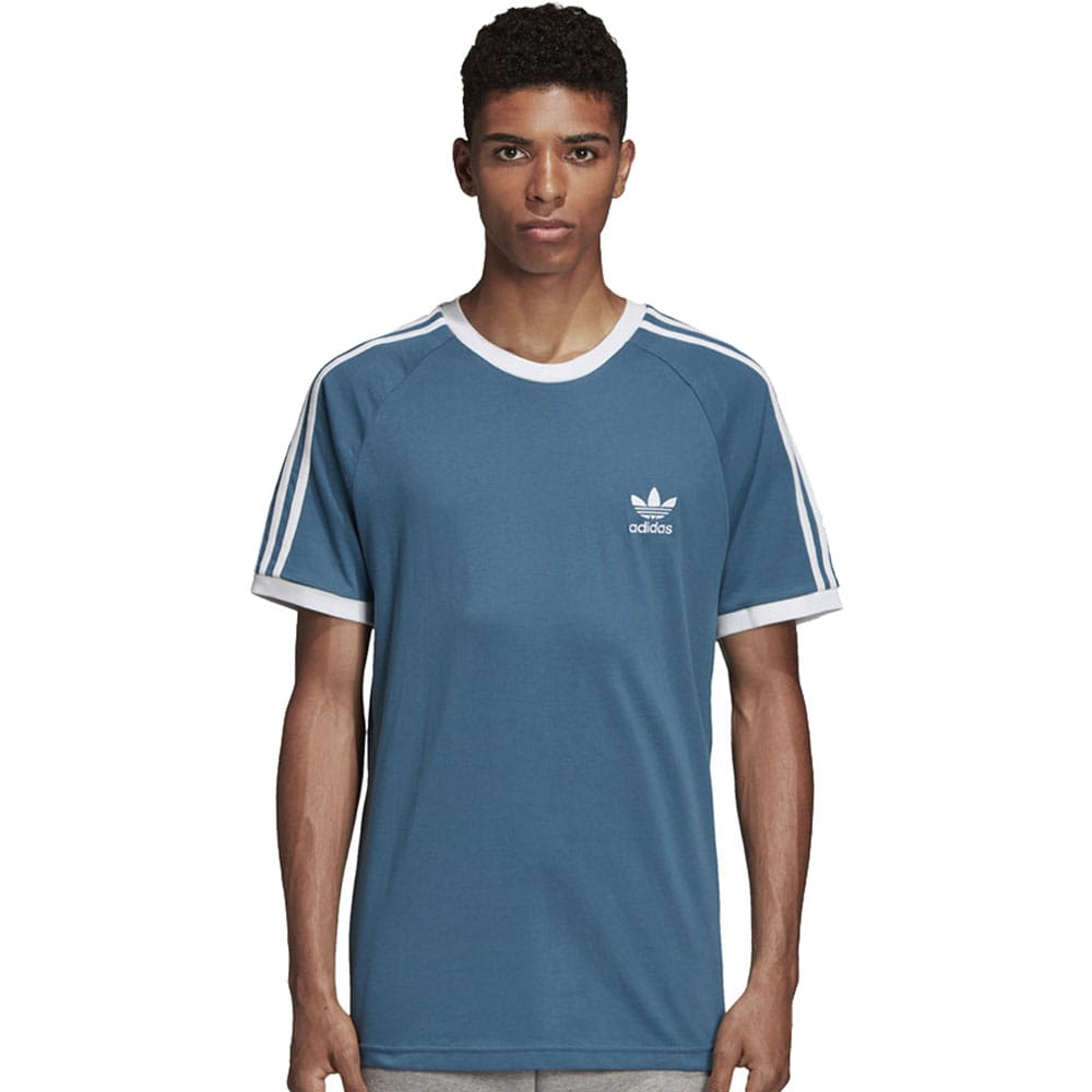 adidas Originals 3 Stripes Tee Herren-Shirt Blanch Blue
