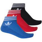 adidas Originals Trefoil Ankle Stripes 3 Pack Socken Black Red Blue
