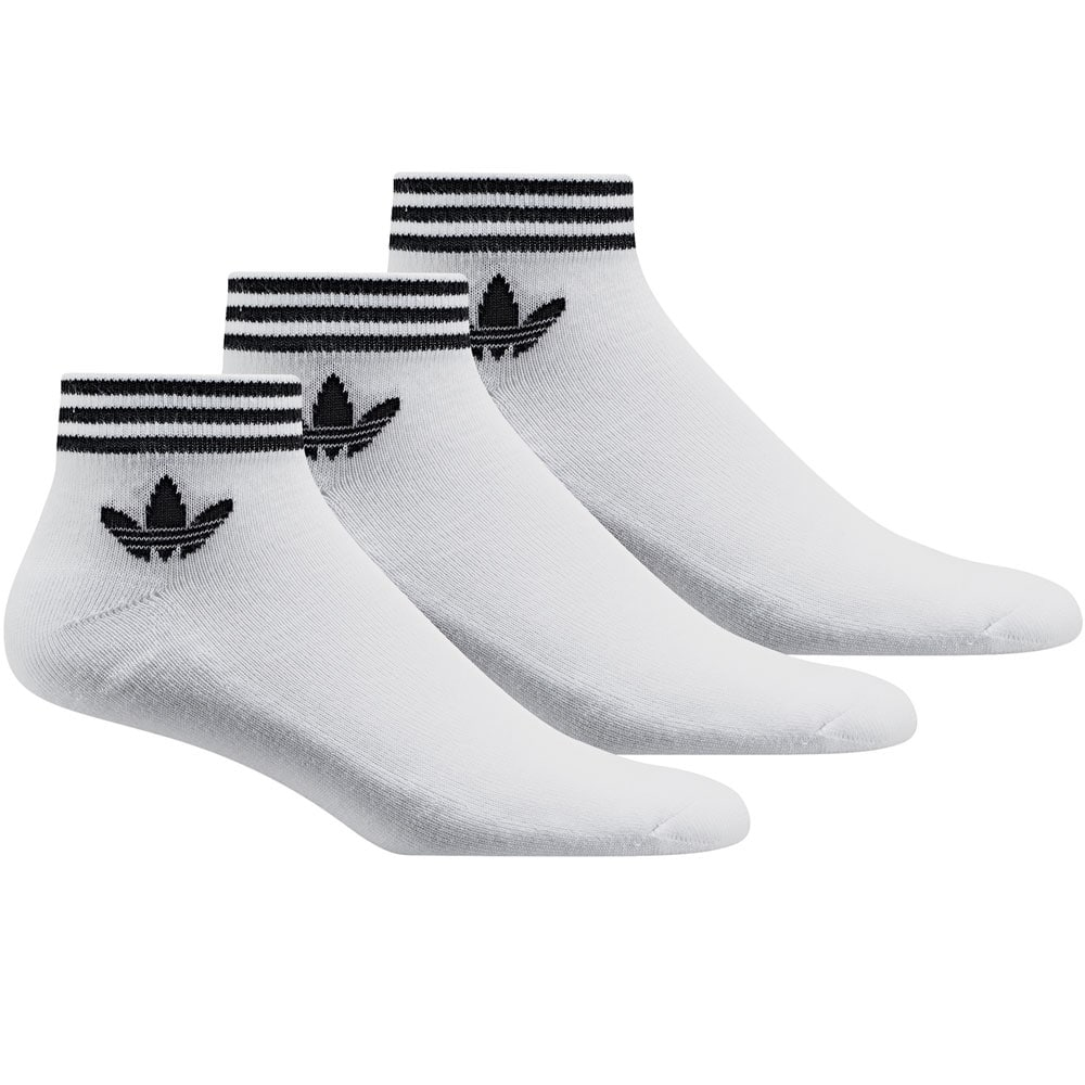 adidas Originals Trefoil Ankle Stripes 3 Paar Socken White