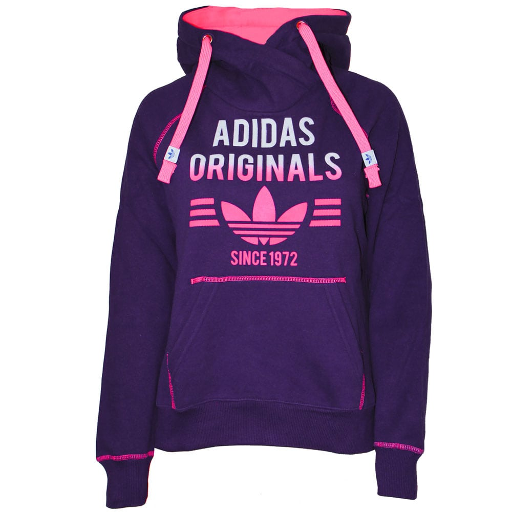 adidas super fleece hoodie damen m69930 dark purple fun. Black Bedroom Furniture Sets. Home Design Ideas