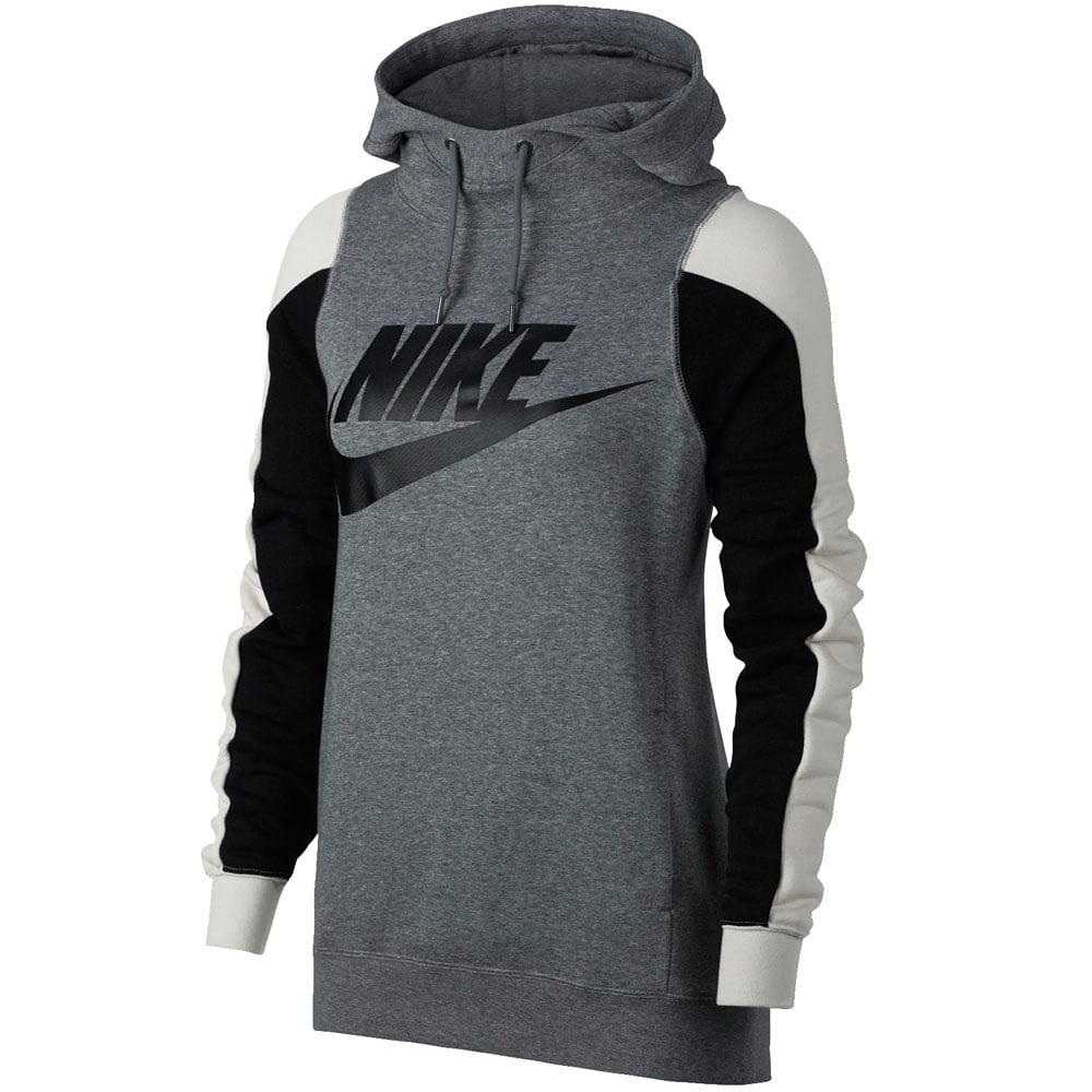 nike modern hoodie damen pullover carbon heather light bone fun sport vision. Black Bedroom Furniture Sets. Home Design Ideas