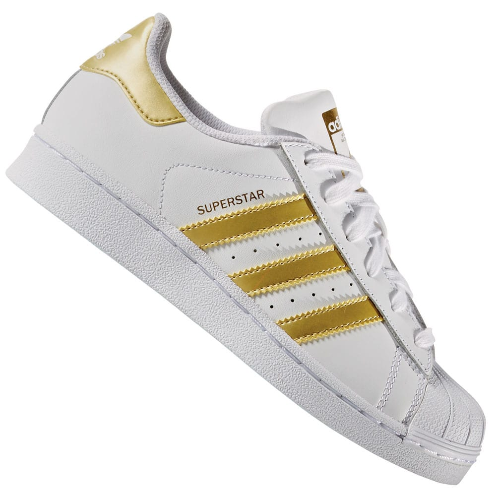 adidas Originals Superstar J Sneaker White/Gold Metallic