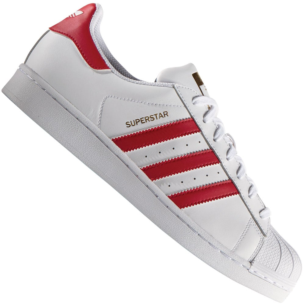 990ab8378b35 adidas Superstar Foundation Sneaker B27139 White Scarlet White   Fun ...
