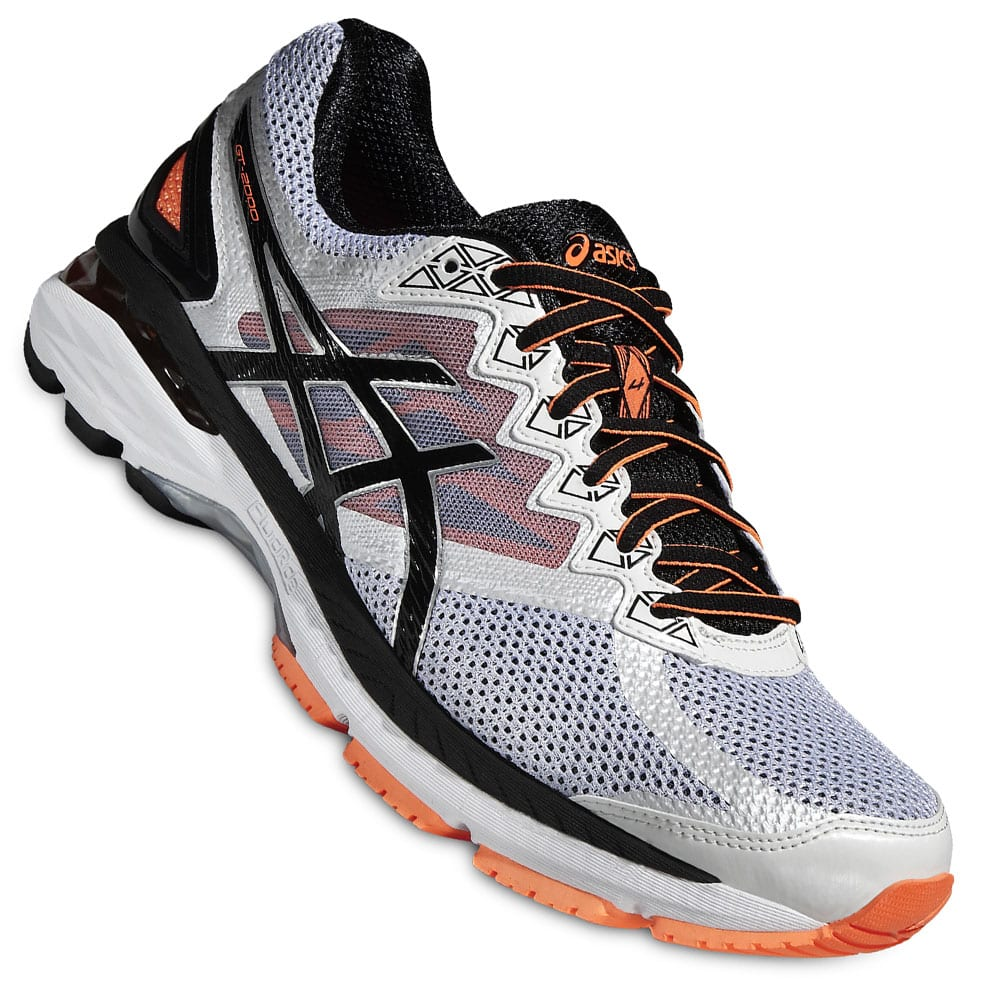 asics gt 2000 4 herren laufschuhe t606n 0190 white black hot orange fun sport vision. Black Bedroom Furniture Sets. Home Design Ideas