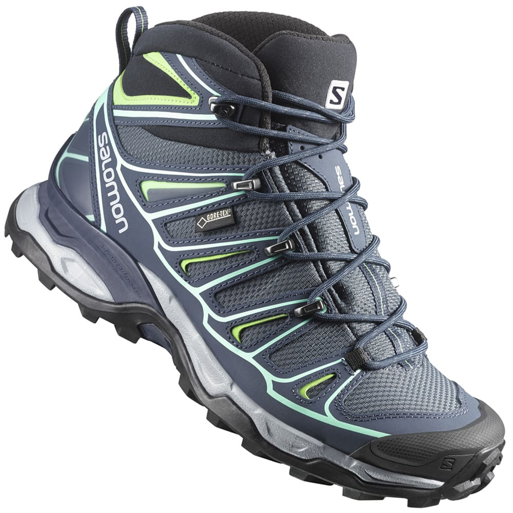 salomon x ultra mid 2 gtx w damen wanderschuhe denim blue green fun sport vision. Black Bedroom Furniture Sets. Home Design Ideas