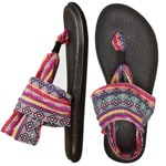 Sanuk Womens Yoga Sling 2 Prints Damen-Sandalen Magenta/Tribal