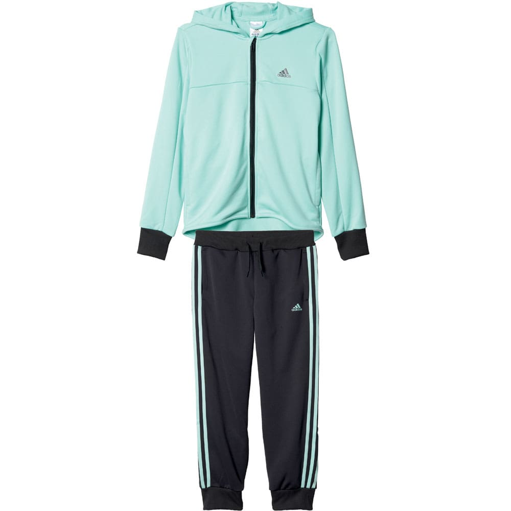 adidas performance hooded polyester tracksuit kinder jogginganzug fun sport vision. Black Bedroom Furniture Sets. Home Design Ideas