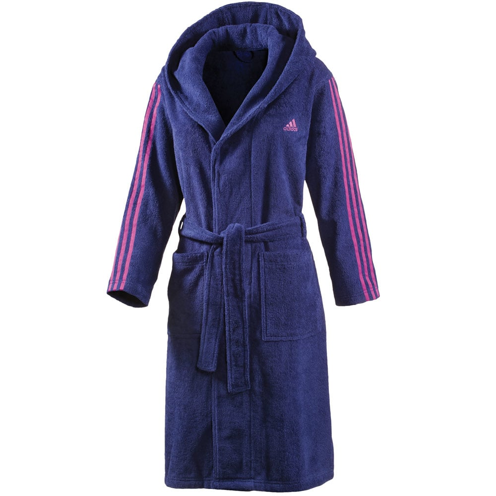adidas 3 stripes bathrobe damen bademantel s20702 w purple pink fun sport vision. Black Bedroom Furniture Sets. Home Design Ideas