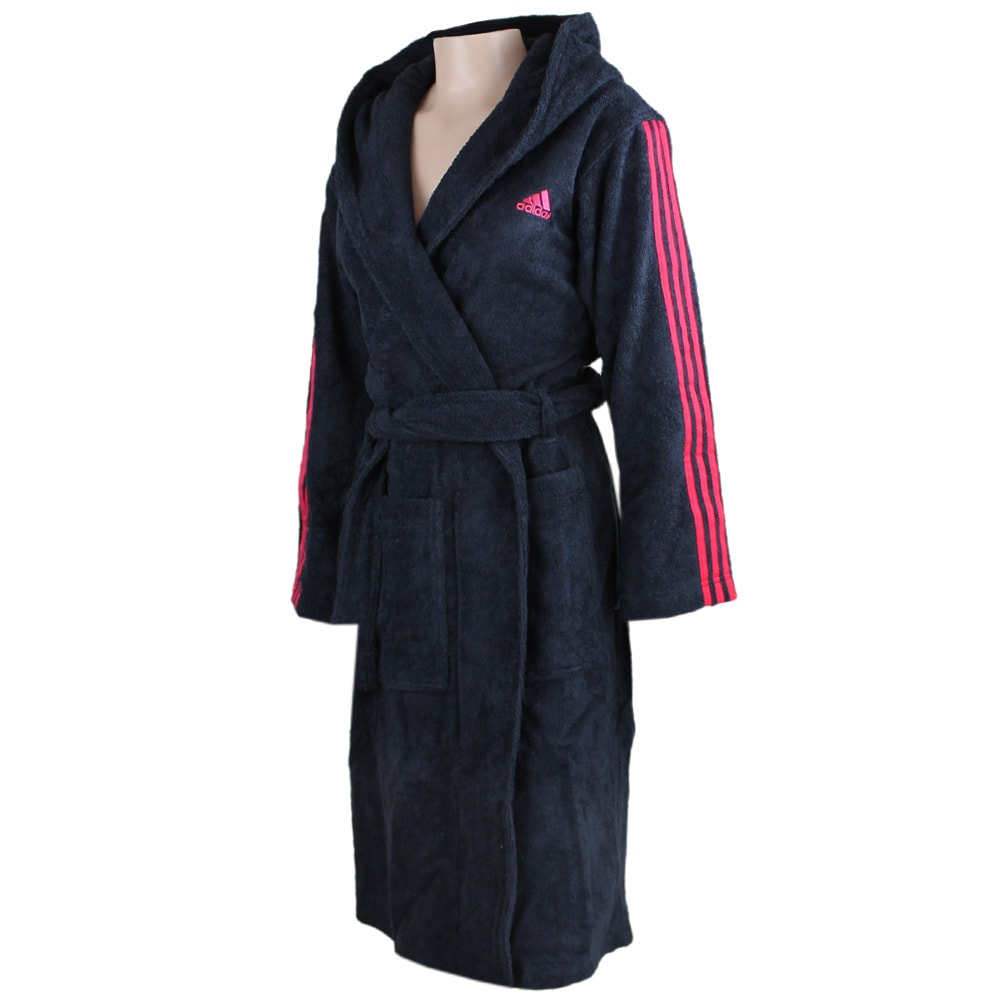 adidas adi bathrobe damen bademantel f51243 dark blue pink fun sport vision. Black Bedroom Furniture Sets. Home Design Ideas