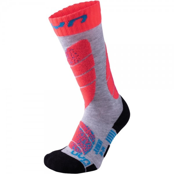 UYN Junior Ski Socks Kinder-Funktionssocken Light Grey/Coral
