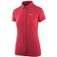 Salewa Puez Minicheck Dry SS Shirt Damen-Bluse Rose Red