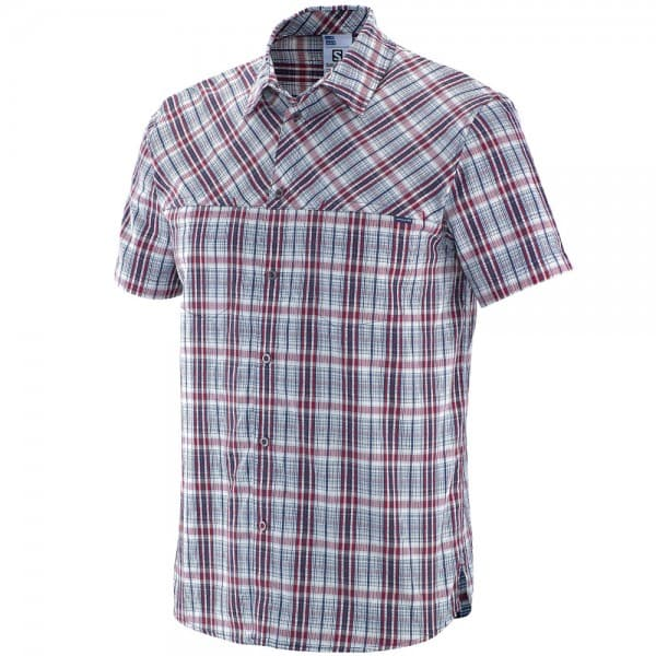 Salomon Radiant Plaid SS Shirt M Herren-Outdoorhemd Midnight Blue