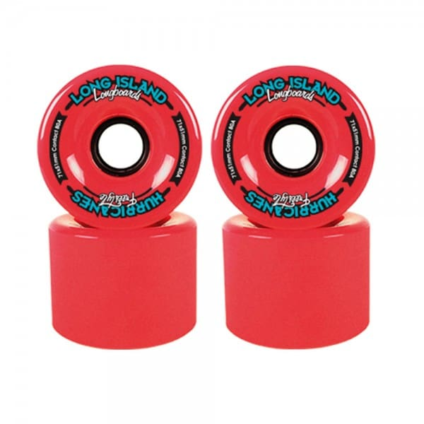 Long Island Hurricanes Freestyle Longboard Wheels 71mm 83A - Red